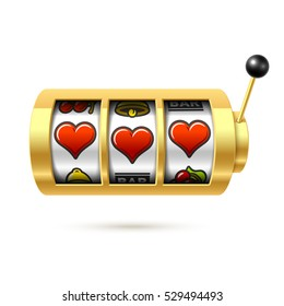 Three lucky heart symbols on slot machine, Valentines Day concept vector illustration.