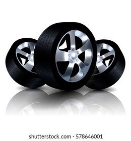 Three Luxury Auto Wheels Isolated on White Background. 3D Vector Rendering