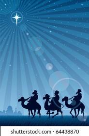 The three Magi follow the Star of Bethlehem. A4 proportions.