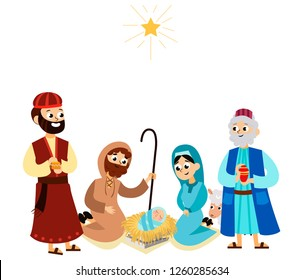 Three magic kings of orient bringing presents to Christ