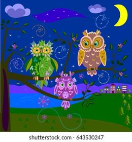 Three magic owls sit on a tree at night. Vector illustration.