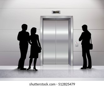 Three male and female people silhouettes standing in front of modern elevator and waiting for it realistic vector illustration