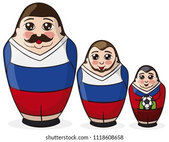 Three male matryoshka dolls painted like soccer players and the little one like the goalkeeper, holding the ball for the Russian Football Championship.