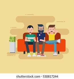 Three man sitting on sofa