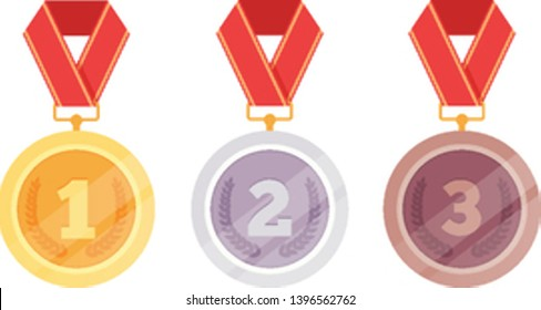 Three medals, golden first place, silver second place, bronze third place isolated on white background. Vector flat cartoon graphic design illustration