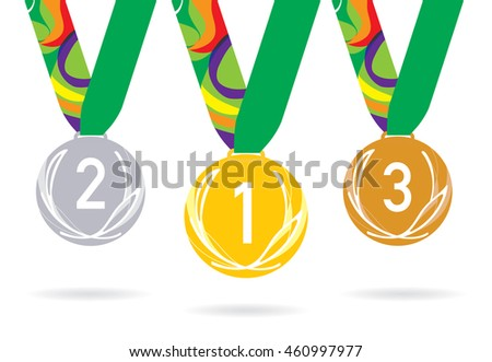 Three medals with the laurel leaf on the ribbon. Vector illustration. Gold, silver and bronze.