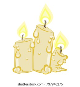 three melted candles cartoon