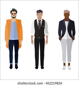 Three men flat style icon people figures in different views like: man in orange trendy coat, business man dress and smarty dress code