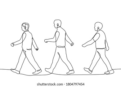 three men in full height walk one after another in wide strides in one line. One continuous line drawing of a formation of marching men crossing the road.