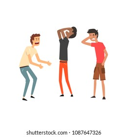 Three men quarreling and swearing, aggressive and violent behavior vector Illustration on a white background