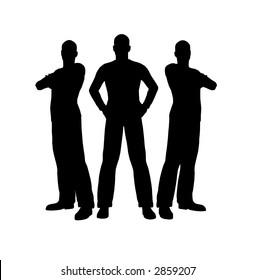 three men silhouette