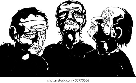 Three men with their eyes and mouths stitched shut.