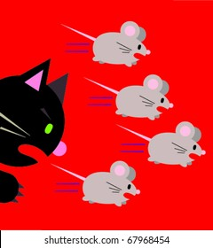Three Mice chased by Angry Cat