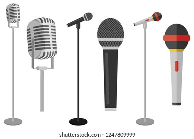 Three microphones on counter. Microphone with stand vector on white background. Set of microphones on counter.