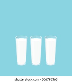 Three milk glasses in a row. Big copy space on the top of the simple flat illustration.