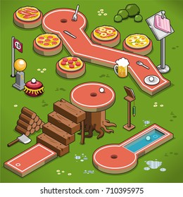 Three mini golf lanes in isometric view, including pizza theme, wooden stairs and pool lane (vector illustration)