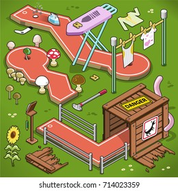 Three mini golf lanes in isometric view, including mushroom theme, wooden box with dangerous animal and ironing board with flat iron and clothes line (vector illustration)