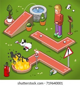 Three mini golf lanes in isometric view, including ramp with well, hellfire, nonsense lane and confused man holding golf club (vector illustration)
