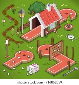 Three mini-golf lanes in isometric view, including house tunnel, mini lane and wooden fence obstacle; garden decoration with mushrooms and flowers (vector illustration)