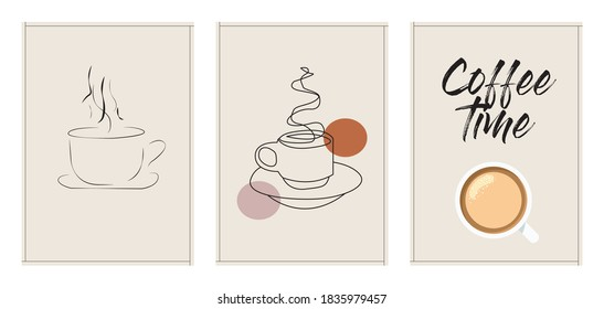 Three minimalist posters coffee time , wall decor, flat design,poster design-vector