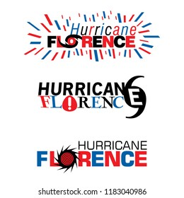 Three mnemonics on Hurricane Florence in red and blue designs on an isolated white background