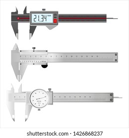 Three models of calipers on a white background.Vector illustration
