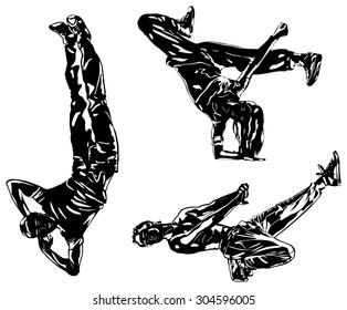 Three modern dancers silhouettes on white.
