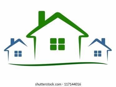 three modern houses