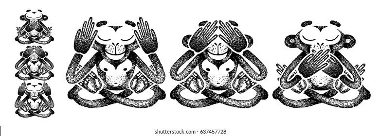 Three monkeys. Black and white vector illustration. See no Evil, Hear no Evil, Speak no Evil. Sketch for tattoo, poster, print or t-shirt.