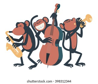 Three monkeys playing jazz. One of them plays the saxophone, the other one plays the contra bass and the third one plays the trumpet.