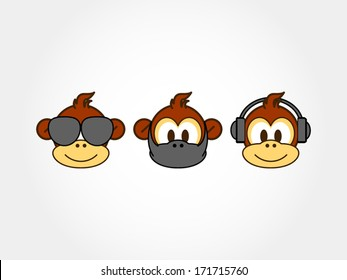 three monkeys representing communication concept