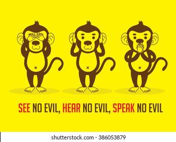 Three monkeys. SEE no evil, HEAR no evil, SPEAK no evil graphic vector.