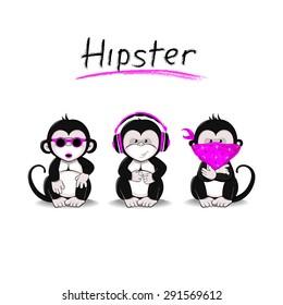 Three Monkeys symbolizing the idea of not seeing, not hearing, not speaking in a modern interpretation