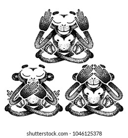Three monkeys. Vector illustration. See no Evil, Hear no Evil, Speak no Evil. Sketch for tattoo, poster, print or t-shirt.