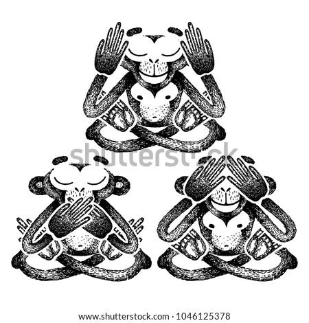 Three Monkeys Vector Illustration See No Stock Vector Royalty Free