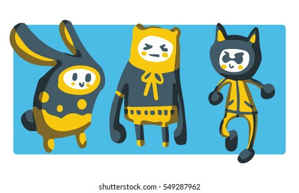 Three Monsters Mascots cartoons set with blue background