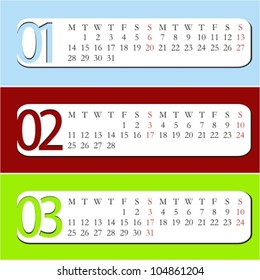 Three Month calendar for year 2013. January, February, March