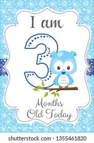 I am three months old - Baby Milestone card. Cute design with blue background and with a Baby owl. - Vector