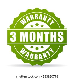 Three months warranty vector icon on white background. 3 months warranty icon.