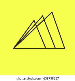 Three mountain of lines, very simple mountain logo, vector mountain logo. Mountain logo on yellow background. Eps10 vector illustration.