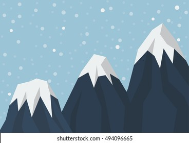 Three mountain peak in flat style