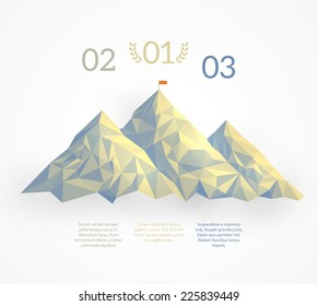 Three mountain tops repeating the winners pedestal with a flag on the highest mount. A template for a business concept of leadership and achievement. Representing 1st 2nd and 3rd place. EPS10 vector.