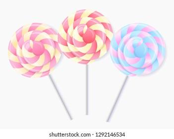 Three multi-colored 3d lollipops, spiral caramel
