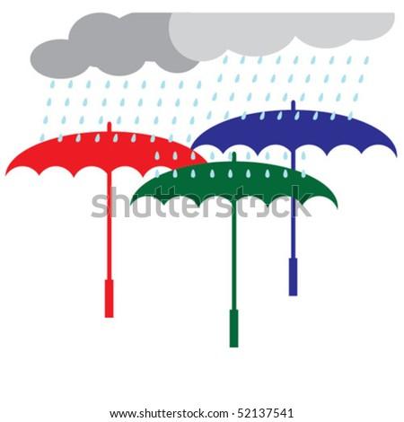 Three multicolored umbrella the