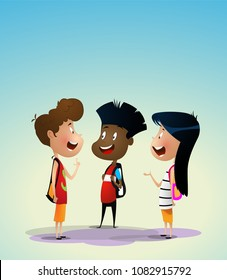 Three multiracial kids discuss something. Preschool activities and early childhood education concept. Vector illustration