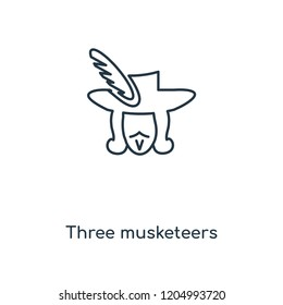 Three musketeers concept line icon. Linear Three musketeers concept outline symbol design. This simple element illustration can be used for web and mobile UI/UX.
