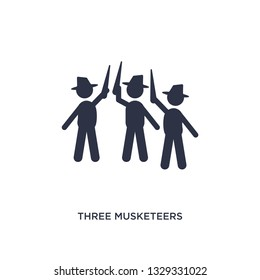 three musketeers icon. Simple element illustration from literature concept. three musketeers editable symbol design on white background. Can be use for web and mobile.