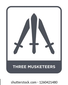three musketeers icon vector on white background., three musketeers simple element illustration