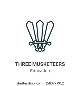 Three musketeers outline vector icon. Thin line black three musketeers icon, flat vector simple element illustration from editable literature concept isolated on white background