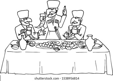 Three mustachioed men in national clothes eat and drink Georgian wine deliciously. Vector illustration of Caucasian traditions. Holiday dinner.